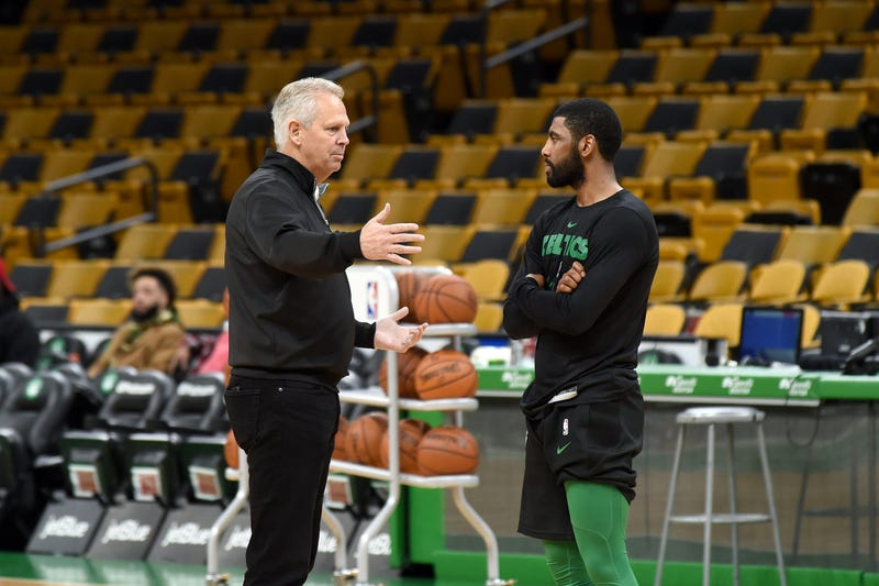 Celtics president of basketball operations Danny Ainge and guard Kyrie Irving
