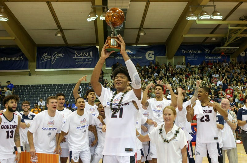 Rui Hachimura holds up the tournament MVP trophy after the 2018 Maui Invitational in Lahaina, Hawaii on November 21, 2018