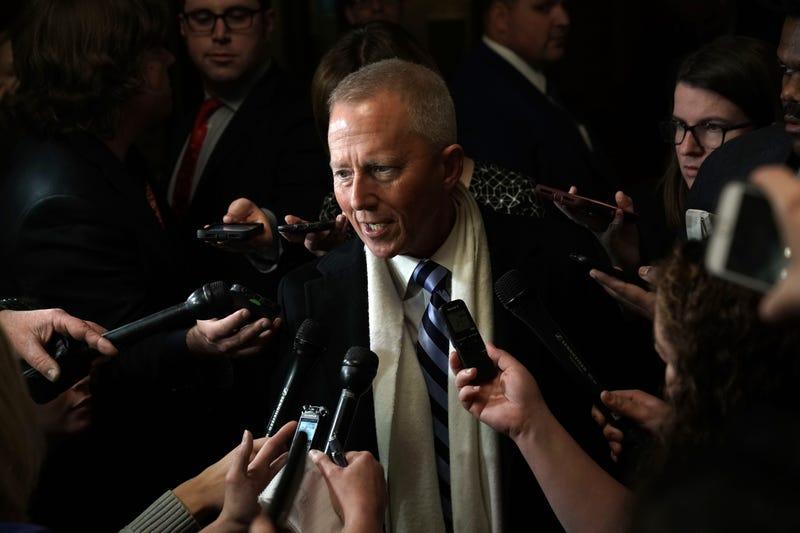Rep. Jeff Van Drew speaks to members of the media outside a closed House Democrats organizational meeting.