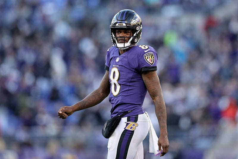JANUARY 06: Lamar Jackson #8 of the Baltimore Ravens reacts after a play against the Los Angeles Chargers during the fourth quarter in the AFC Wild Card Playoff game at M&T Bank Stadium on January 06, 2019 in Baltimore, Maryland. (Photo by Patrick Smith/G
