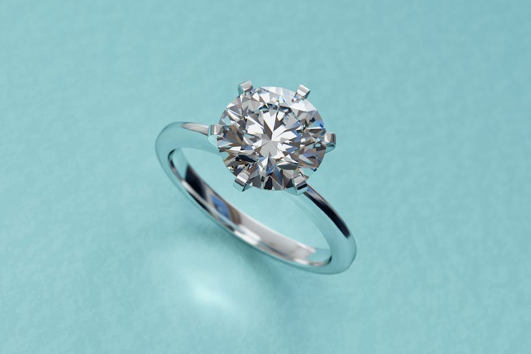Engagement Ring, Diamond Ring, Turquoise Background