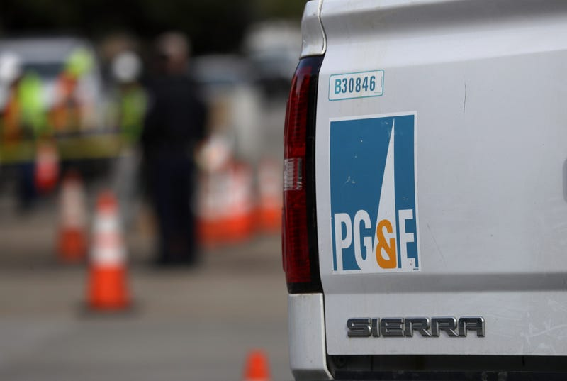 SAN FRANCISCO, CALIFORNIA - FEBRUARY 07: A Pacific Gas and Electric (PG&E) truck sits at the scene of a three-alarm fire that started after a construction crew hit a gas line on February 07, 2019 in San Francisco, California.