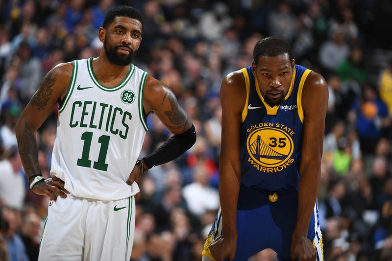 Celtics guard Kyrie Irving and Warriors forward Kevin Durant