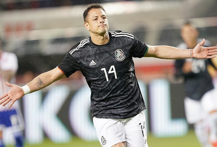 Javier Hernandez #14 of the Mexico National team celebrates after he scored against Paraguay during the first half of their soccer game at Levi's Stadium on March 26, 2019 in Santa Clara, California.