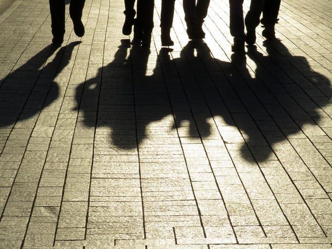 Shadow of gang members