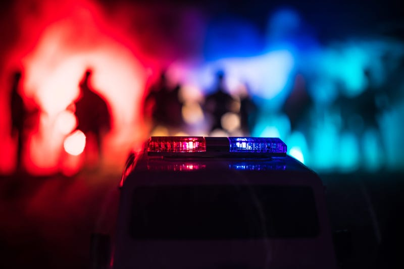 911 Emergency response police car speeding to scene of crime.