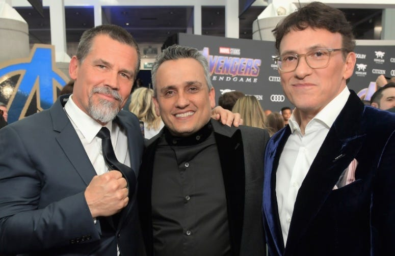 LOS ANGELES, CA - APRIL 22: (L-R) Josh Brolin, Director Joe Russo and Director Anthony Russo attend the Los Angeles World Premiere of Marvel Studios' 'Avengers: Endgame' at the Los Angeles Convention Center on April 23, 2019 in Los Angeles, California.