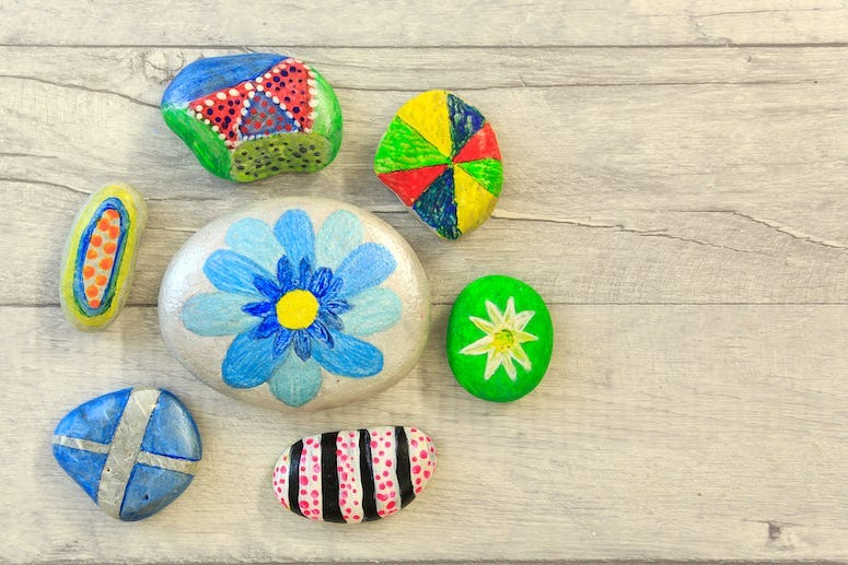 Rocks, Stones, Painted, Paint, Wooden Board