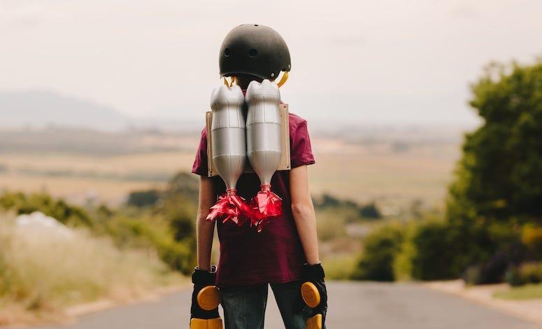 Boy, Helmet, Jetpack