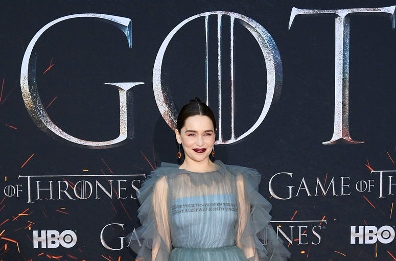 """NEW YORK, NEW YORK - APRIL 03: Emilia Clarke attends the """"Game Of Thrones"""" Season 8 Premiere on April 03, 2019 in New York City"""