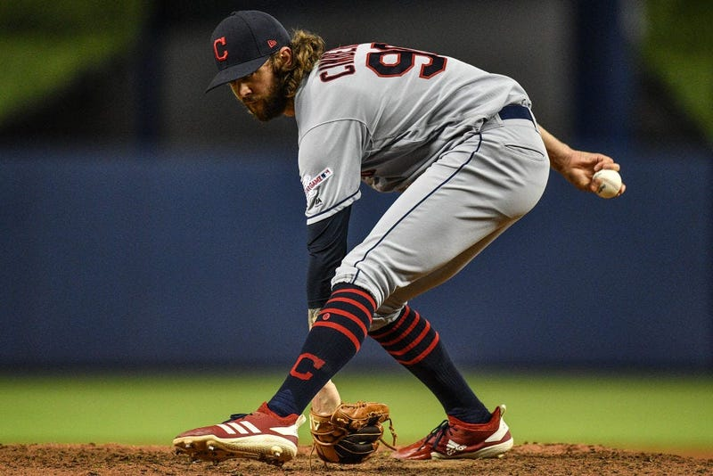 MIAMI, FL - MAY 01: Adam Cimber #90 of the Cleveland Indians warms up before the seventh inning against the Miami Marlins at Marlins Park on May 1, 2019 in Miami, Florida. (Photo by Mark Brown/Getty Images)
