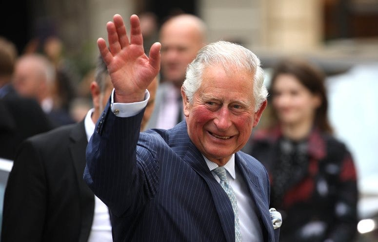 LEIPZIG, GERMANY - MAY 08: Prince Charles, Prince of Wales waves to well wishers as he arrives at St. Thomas Church on May 8, 2019 in Leipzig, Germany. Their Royal Highnesses are paying an official visit to Germany at the request of the British government