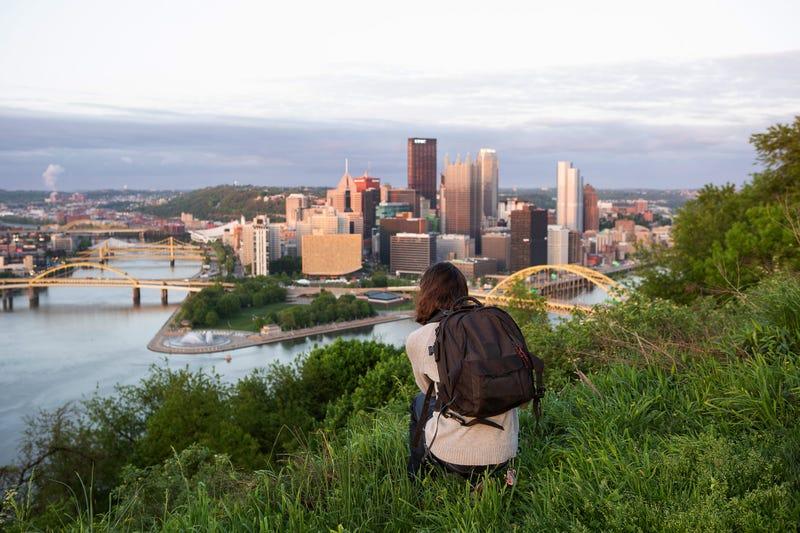 Man photographing Pittsburgh in Mount Washington
