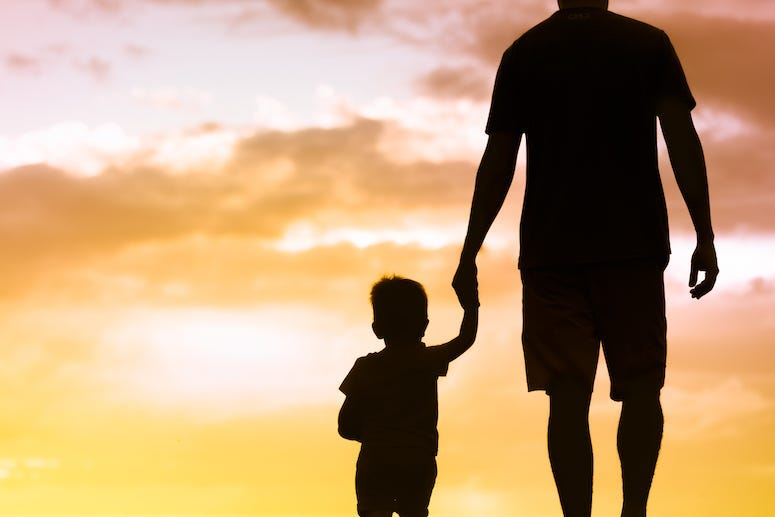 Father, Son, Holding Hands, Silhouette