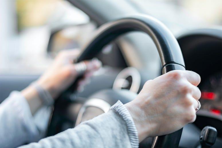 Female, Hands, Driving, Steering Wheel