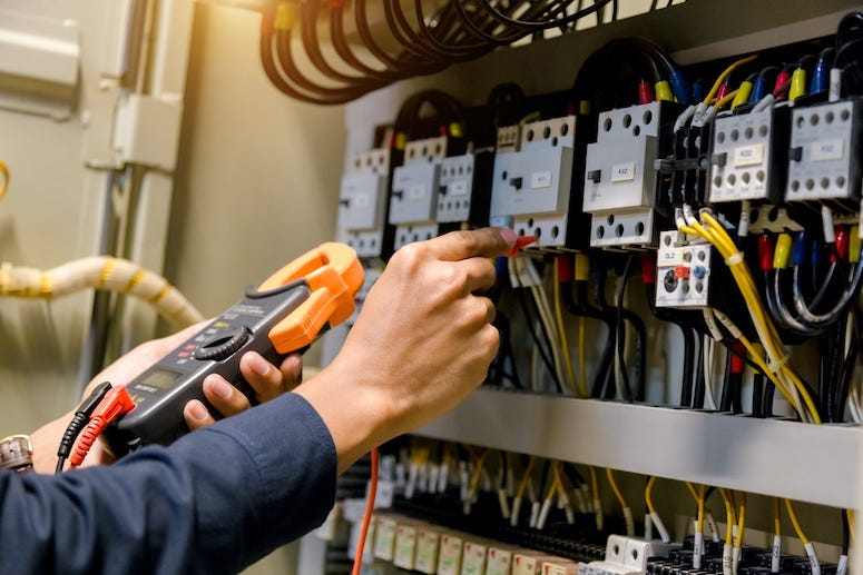 Electrical Engineer, Gloves, Electric Lines, Wires, Measuring