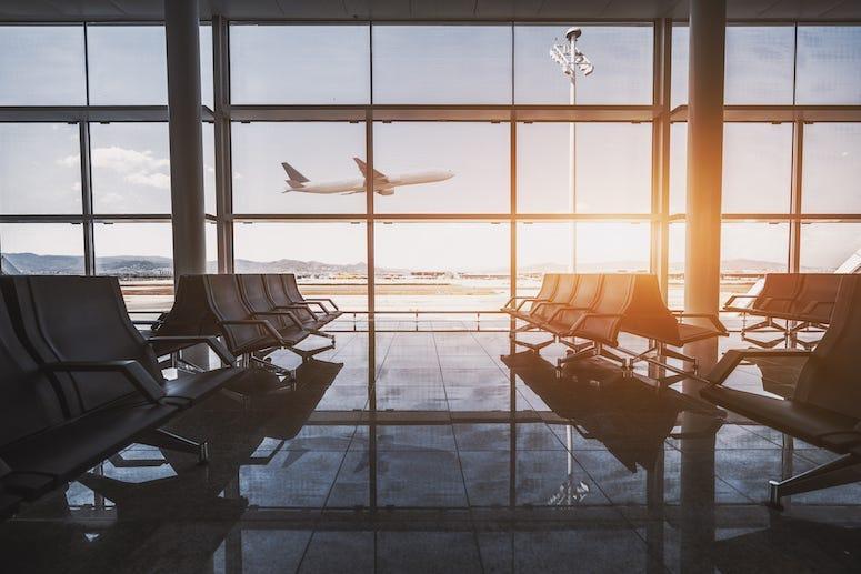 Airport, Terminal, Seats, Waiting Room, Window, Flying Plane, Dusk
