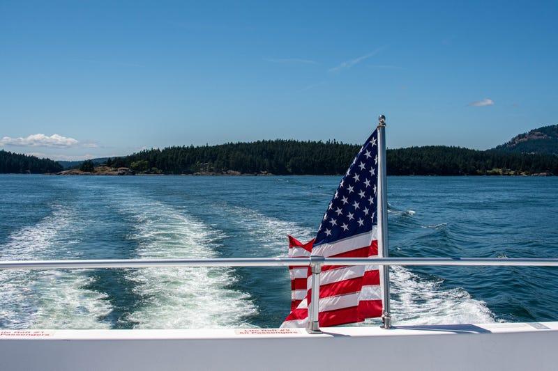 American Flag on Boat