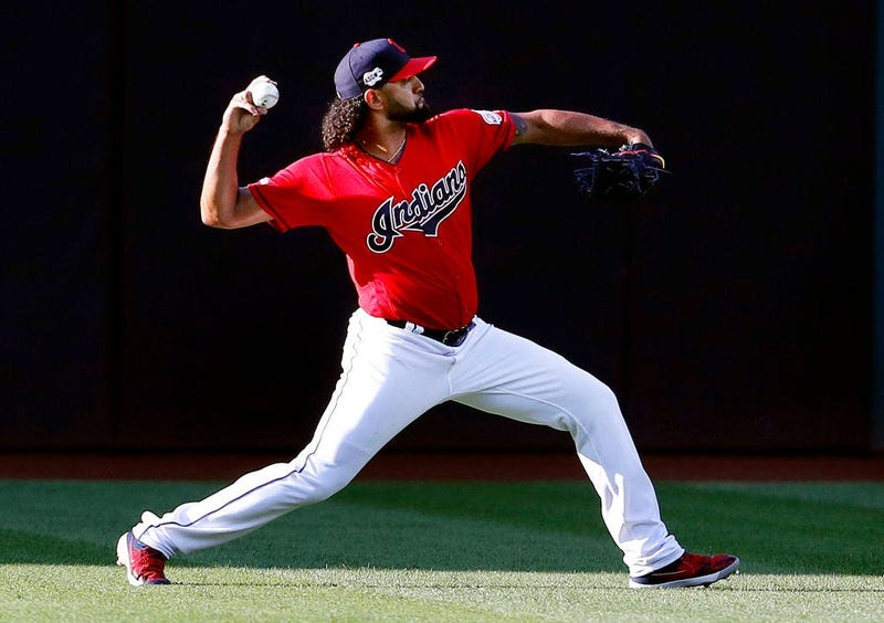 CLEVELAND, OH - AUGUST 01: Danny Salazar #31 of the Cleveland Indians warms up before the start of the game against the Houston Astros at Progressive Field on August 1, 2019 in Cleveland, Ohio. (Photo by David Maxwell/Getty Images)