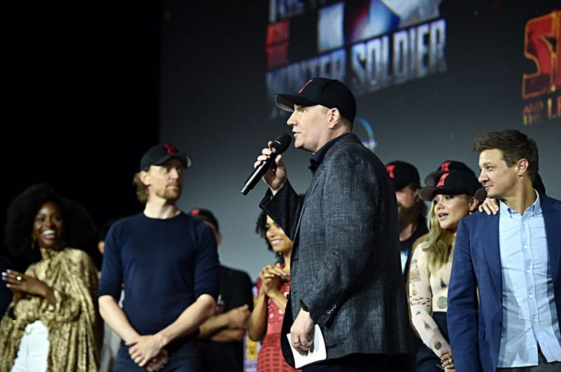 President of Marvel Studios Kevin Feige at the San Diego Comic-Con International 2019 Marvel Studios Panel in Hall H on July 20, 2019 in San Diego, California.