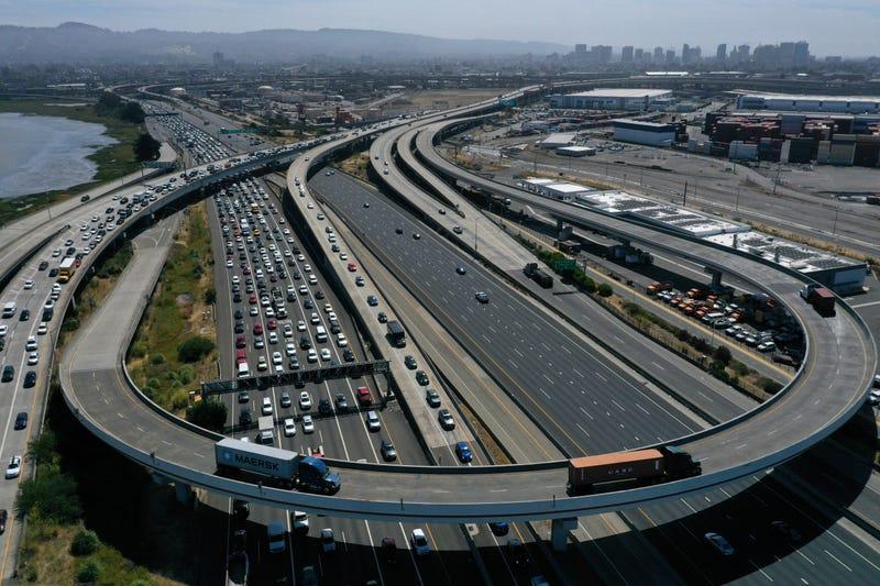 ffic backs up at the San Francisco-Oakland Bay Bridge toll plaza along Interstate 80 on July 25, 2019 in Oakland, California.