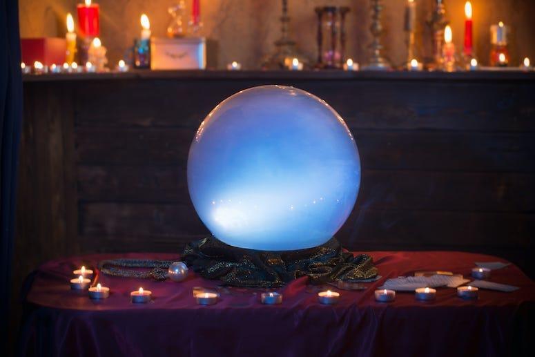 Crystal Ball, Table, Burning Candles