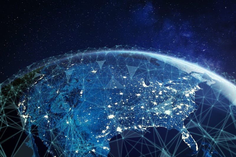Telecommunication network above North America and United States viewed from space for American 5g LTE mobile web