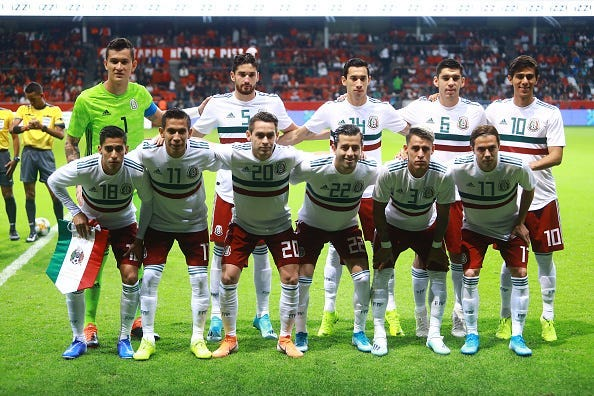 Players of Mexico pose for the team photo prior to the international friendly between Mexico and Trinidad & Tobago at Nemesio Diez Stadium on October 2, 2019 in Toluca, Mexico.