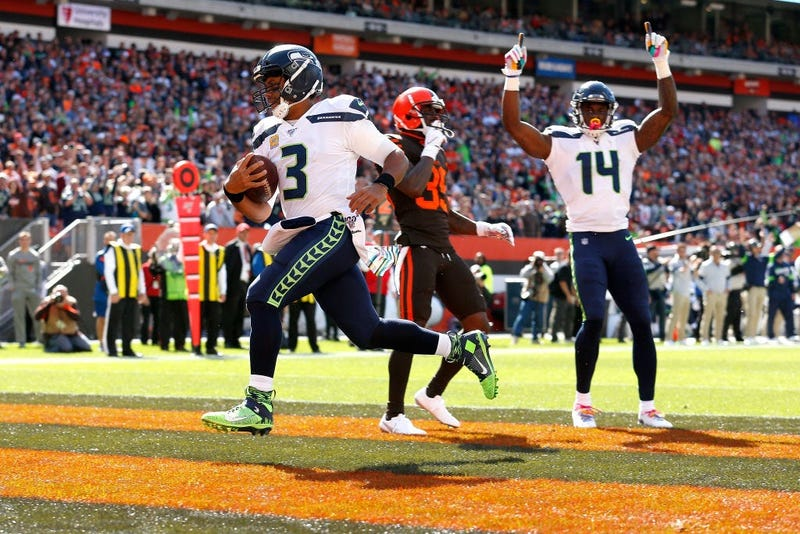 CLEVELAND, OH - OCTOBER 13: Russell Wilson #3 of the Seattle Seahawks scores a touchdown during the first quarter of the game against the Cleveland Browns at FirstEnergy Stadium on October 13, 2019 in Cleveland, Ohio. (Photo by Kirk Irwin/Getty Images)
