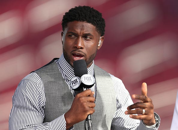 LOS ANGELES, CALIFORNIA - SEPTEMBER 20: Former USC running back Reggie Bush attends the USC game against Utah as a guest on the pregame show on Fox Sports at Los Angeles Memorial Coliseum on September 20, 2019 in Los Angeles, California. (Photo by Meg Oli