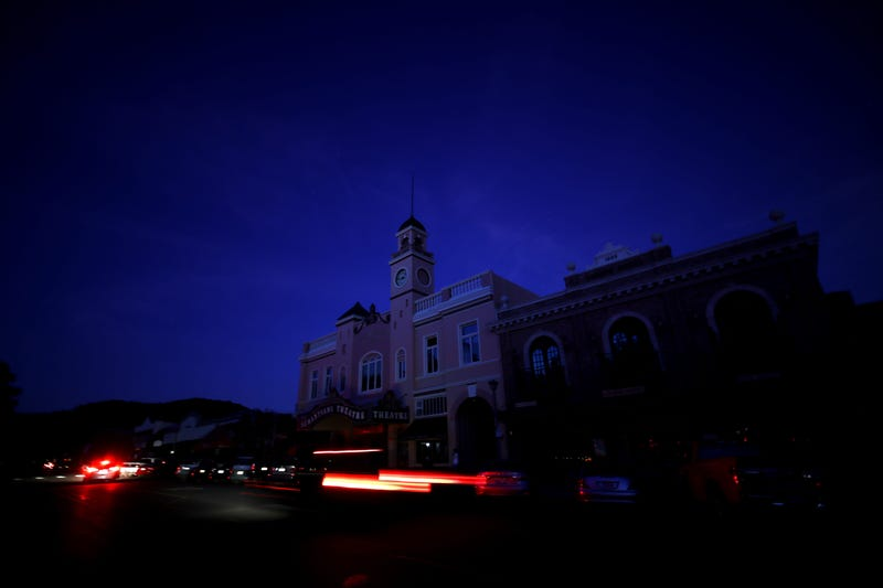 : The Sebastiani Theatre and much of downtown remained dark on October 10, 2019 in Sonoma, California. Power outages were scheduled as preemptive moves by PG&E to address hot, dry and windy weather and the risk of wildfires, according to the company.