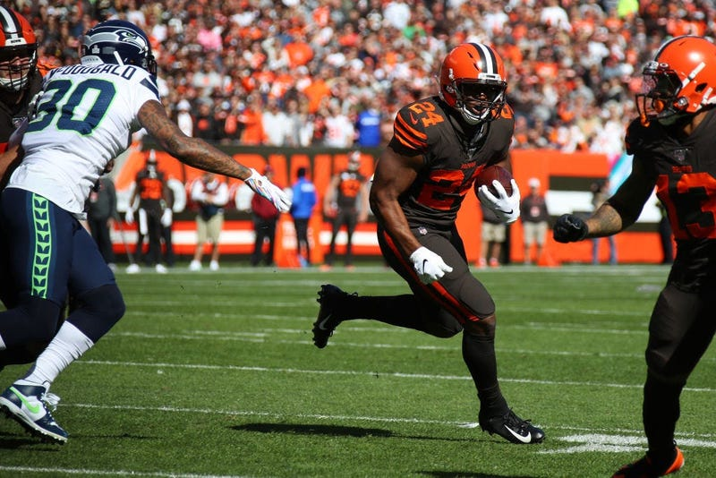 CLEVELAND, OHIO - OCTOBER 13: Nick Chubb #24 of the Cleveland Browns runs for a first quarter touchdown while playing the Seattle Seahawks at FirstEnergy Stadium on October 13, 2019 in Cleveland, Ohio. (Photo by Gregory Shamus/Getty Images)
