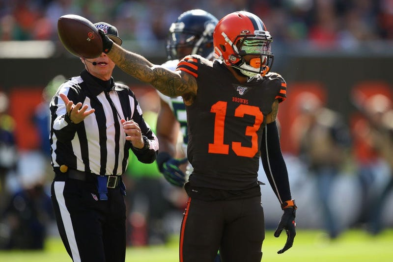 CLEVELAND, OHIO - OCTOBER 13: Odell Beckham #13 of the Cleveland Browns reacts to a first down catch against the Seattle Seahawks during the second quater at FirstEnergy Stadium on October 13, 2019 in Cleveland, Ohio. (Photo by Gregory Shamus/Getty Images