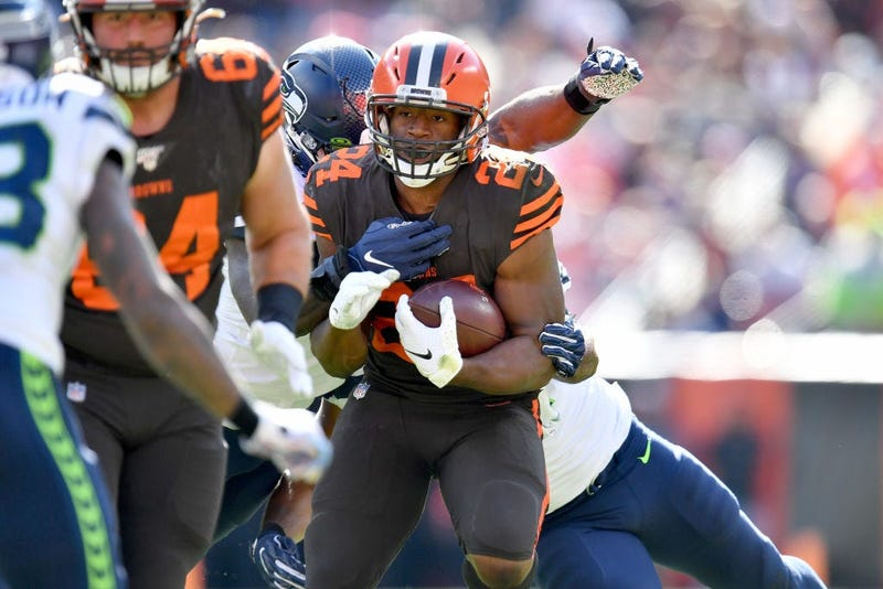 CLEVELAND, OHIO - OCTOBER 13: Nick Chubb #24 of the Cleveland Browns runs for a gain during the second quarter against the Seattle Seahawks at FirstEnergy Stadium on October 13, 2019 in Cleveland, Ohio. (Photo by Jason Miller/Getty Images)