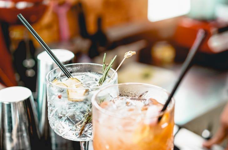 Cocktails served on bar counter