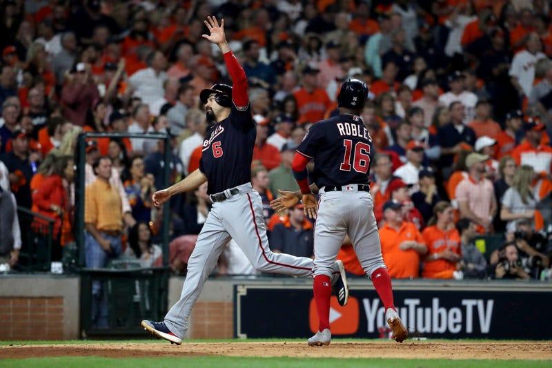 Anthoy Rendon celebrates scoring in Game 1 of the World Series.