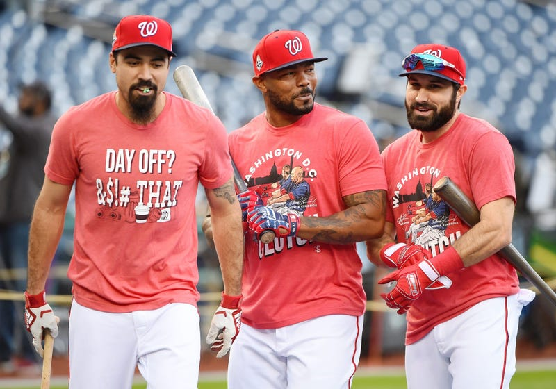 Anthony Rendon, Howie Kendrick, Adam Eaton prepare for Game 3 of the World Series.