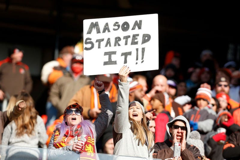 Browns fan with mason rudolph sign