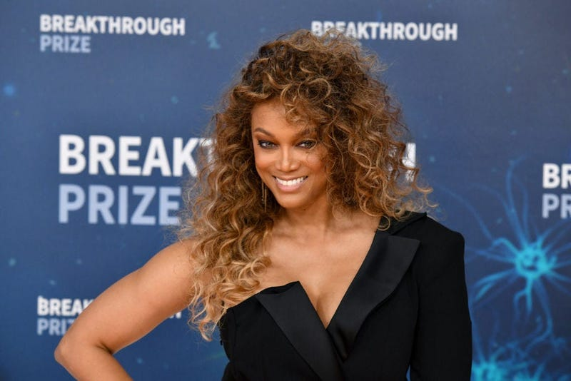 Tyra Banks attends the 2020 Breakthrough Prize Red Carpet at NASA Ames Research Center