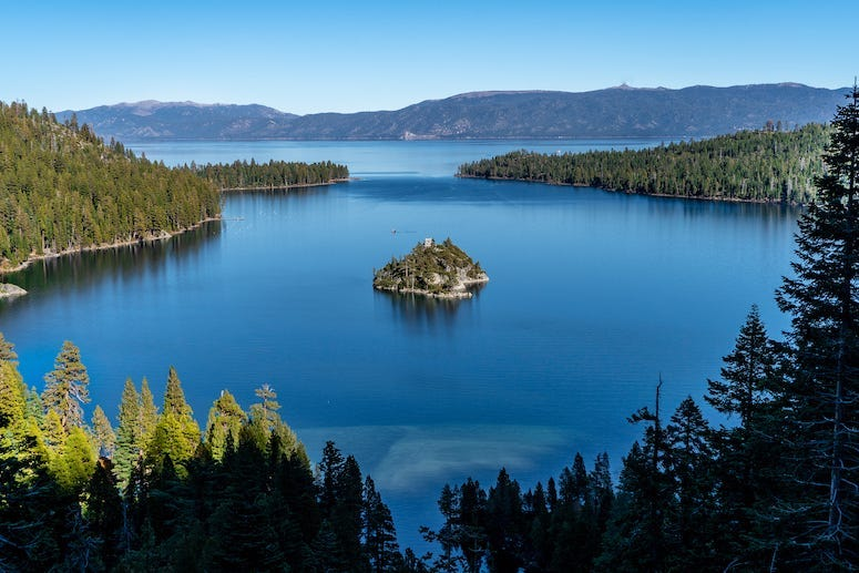 Emerald Bay, Lake Tahoe, Lake, Water, Mountains