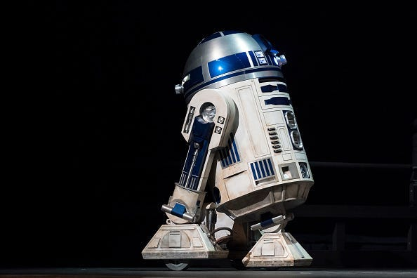 TOKYO, JAPAN - NOVEMBER 28: Star Wars character R2-D2 is seen before the 'Star Wars Kabuki' performance that was produced to promote the upcoming release of 'Star Wars: The Rise of Skywalker' at Meguro Persimmon Hall on November 28, 2019 in Tokyo, Japan.