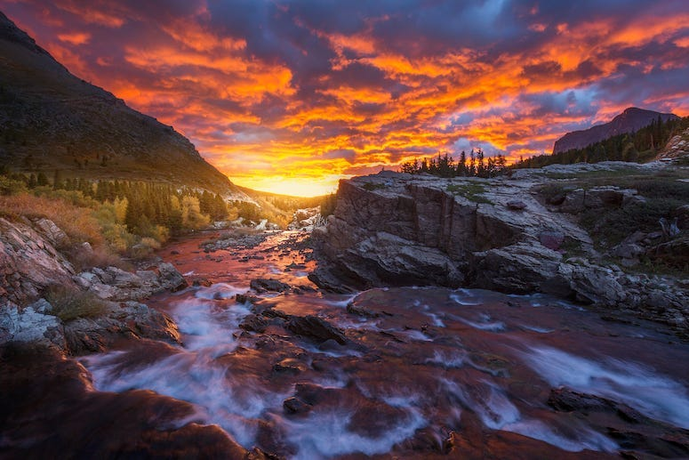 Sunrise, Swiftcurrent Falls in Many Glacier, Glacier National Park, Montana