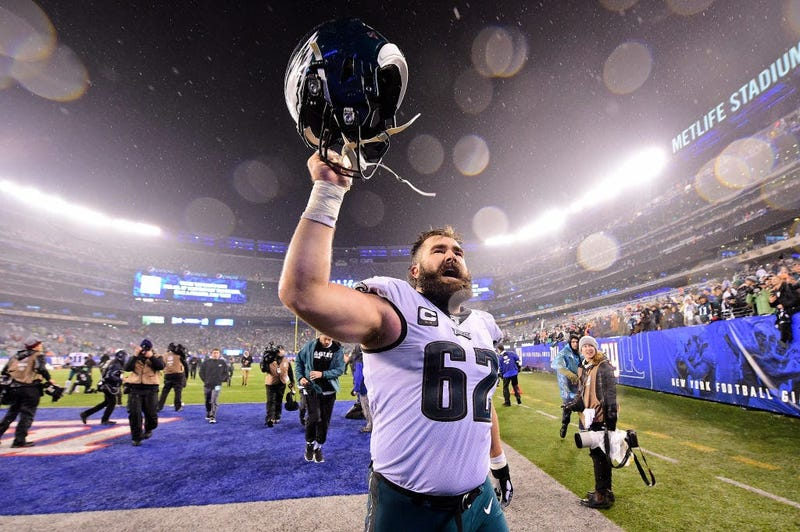 Jason Kelce #62 of the Philadelphia Eagles celebrates his teams win over the New York Giants