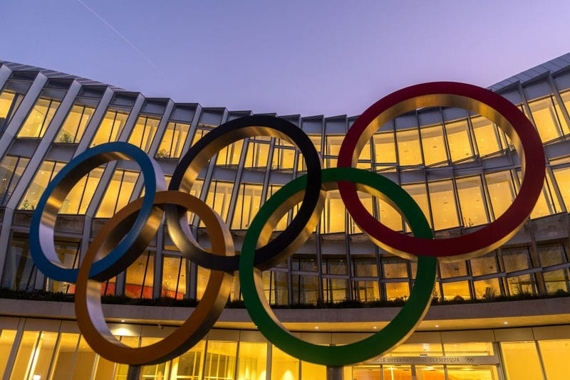 The Olympic Rings sit on display outside the International Olympic Committee (IOC) Headquarters on January 11, 2020 in Lausanne, Switzerland.