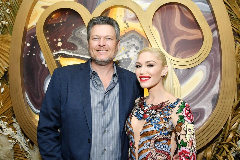 Blake Shelton and Gwen Stefani attend the Warner Music Group Pre-Grammy Party at Hollywood Athletic Club on January 23, 2020 in Hollywood, California.