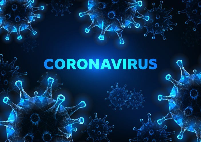 Futuristic coronavirus cells abstract background with glowing low polygonal virus cells and text on dark blue background. Immunology, virology, epidemiology concept. Vector illustration.