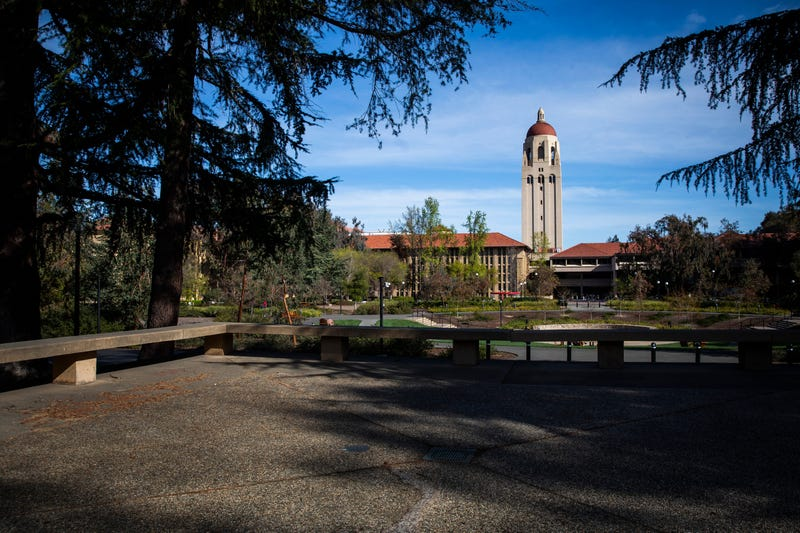 Hoover Tower looms during a quiet morning at Stanford University on March 9, 2020 in Stanford.