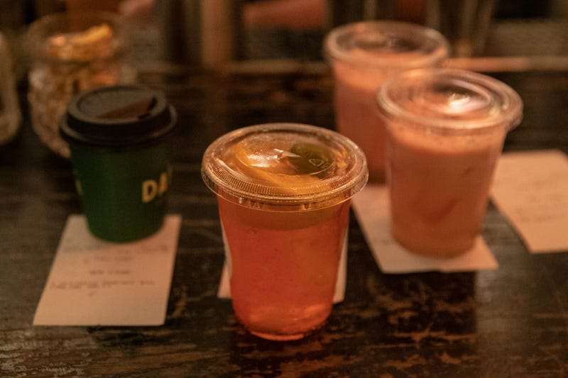 Cocktails are for sale to go at Caffe Dante bar and restaurant in Manhattan as the Coronavirus, COVID19, outbreak continued unabated on March 19, 2020 in New York City.