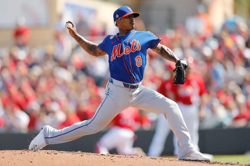Marcus Stroman #0 of the New York Mets delivers a pitch in the second inning of a Grapefruit League spring training game at Roger Dean Stadium on February 22, 2020 in Jupiter, Florida.
