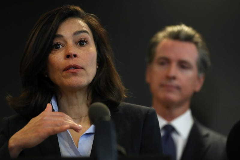 California Department of Public Health Director and State Health Officer Dr. Sonia Angell (L) speaks as California Gov. Gavin Newsom (R) looks on during a news conference at the California Department of Public Health February 27, 2020 in Sacramento, CA.